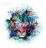Αφηρημένη εικόνα τέχνης με την τίγρη Στοκ εικόνες με δικαίωμα ελεύθερης χρήσης
