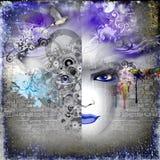 Αφηρημένη εικόνα τέχνης με τη γυναίκα διανυσματική απεικόνιση