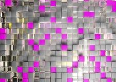 Αφηρημένη εικόνα της ανασκόπησης κύβων στο ροζ που τονίζεται Στοκ Εικόνες