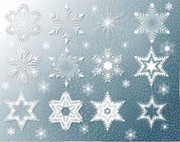 Αφηρημένη εικόνα, Snowflakes φαντασιών, σύνολο στοιχείων του σχεδίου, Στοκ Εικόνα