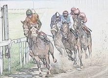 Αφηρημένη ελαιογραφία αγώνων αλόγων διανυσματική απεικόνιση