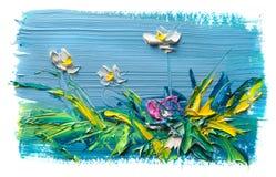 Αφηρημένη ελαιογραφία του λουλουδιού Στοκ Εικόνες