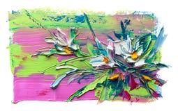 Αφηρημένη ελαιογραφία του λουλουδιού Στοκ Φωτογραφίες