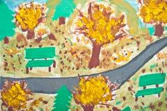 αφηρημένη ζωγραφική τοπίων κατσικιών φθινοπώρου Στοκ Φωτογραφίες