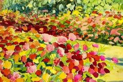 Αφηρημένη ζωγραφική τοπίων watercolor αρχική ζωηρόχρωμη των λουλουδιών ομορφιάς ελεύθερη απεικόνιση δικαιώματος
