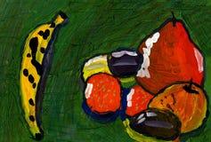 Αφηρημένη ζωγραφική των φρούτων Αχλάδι, Apple, μπανάνα και δαμάσκηνο που χρωματίζονται στην γκουας ή το watercolor Στοκ φωτογραφία με δικαίωμα ελεύθερης χρήσης