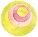 Αφηρημένη ζωγραφική watercolor κύκλων Στοκ Εικόνες