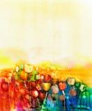 Αφηρημένη ζωγραφική watercolor τομέων λουλουδιών τουλιπών ελεύθερη απεικόνιση δικαιώματος