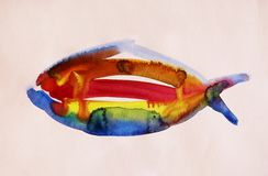 Αφηρημένη ζωγραφική watercolor των ψαριών στοκ εικόνες