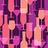 Αφηρημένη ζωηρόχρωμη άνευ ραφής ομιλία μπουκαλιών γυαλιού και κρασιού κοκτέιλ Στοκ Εικόνα