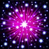 Αφηρημένη ζωηρόχρωμη έκρηξη πυροτεχνημάτων στο σκοτεινό υπόβαθρο επίσης corel σύρετε το διάνυσμα απεικόνισης ελεύθερη απεικόνιση δικαιώματος