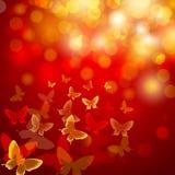 Αφηρημένη ζωηρόχρωμη ανασκόπηση με τις πεταλούδες Στοκ Φωτογραφίες