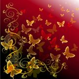 Αφηρημένη ζωηρόχρωμη ανασκόπηση με τις πεταλούδες Στοκ εικόνα με δικαίωμα ελεύθερης χρήσης