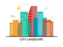 Αφηρημένη ζωηρόχρωμη διανυσματική απεικόνιση πόλεων οικοδόμησης αφισών whith διαφανής στο άσπρο υπόβαθρο EPS 10 διάνυσμα Στοκ εικόνες με δικαίωμα ελεύθερης χρήσης