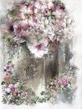 Αφηρημένη ζωηρόχρωμη ζωγραφική watercolor λουλουδιών Άνοιξη πολύχρωμη ελεύθερη απεικόνιση δικαιώματος