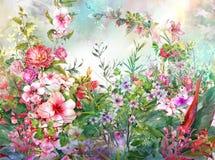 Αφηρημένη ζωηρόχρωμη ζωγραφική watercolor λουλουδιών Άνοιξη πολύχρωμη απεικόνιση αποθεμάτων