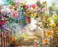 Αφηρημένη ζωηρόχρωμη ζωγραφική watercolor λουλουδιών Άνοιξη πολύχρωμη διανυσματική απεικόνιση