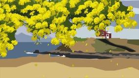Αφηρημένη ζωτικότητα του τοπίου με το κίτρινο δέντρο Ζωτικότητα κινούμενων σχεδίων των ανθίζοντας κίτρινων λουλουδιών του δέντρου διανυσματική απεικόνιση