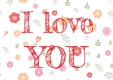 Αφηρημένη ημέρα βαλεντίνων σχεδίου με το κείμενο και τα λουλούδια αγάπης στο υπόβαθρο Συρμένο χέρι ρομαντικό μήνυμα σημαδιών εορτ Στοκ εικόνες με δικαίωμα ελεύθερης χρήσης