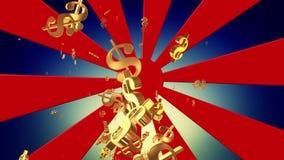 Αφηρημένη ηλιοφάνεια με τα πετώντας σημάδια δολαρίων απεικόνιση αποθεμάτων