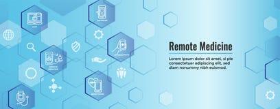 Αφηρημένη ιδέα τηλεϊατρικής με τα εικονίδια που επεξηγούν τη μακρινή υγεία απεικόνιση αποθεμάτων