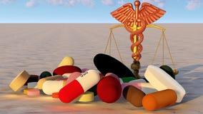 Αφηρημένη ιδέα της δικαιοσύνης στην τρισδιάστατη απόδοση ιατρικής Στοκ Εικόνα