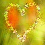 Αφηρημένη κάρτα αστεριών καρδιών, ζωηρόχρωμο υπόβαθρο Στοκ φωτογραφία με δικαίωμα ελεύθερης χρήσης