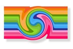 Αφηρημένη κάρτα εμβλημάτων για τη διαφήμιση Whirlwind της στροβιλιμένος σπειροειδούς ζωηρόχρωμης συστροφής δινών γραμμών σπειροει διανυσματική απεικόνιση