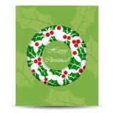 Αφηρημένη κάρτα Χριστουγέννων με το στεφάνι Στοκ Εικόνες