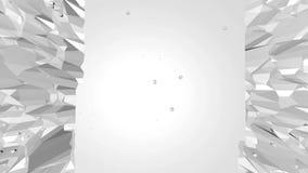 Αφηρημένη καθαρή γραπτή χαμηλή πολυ τρισδιάστατη επιφάνεια κυματισμού ως σκηνικό παιχνιδιών Γκρίζο γεωμετρικό δομένος περιβάλλον  διανυσματική απεικόνιση