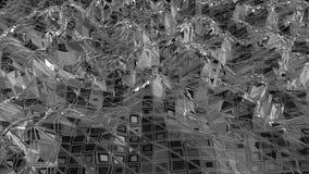 Αφηρημένη καθαρή γραπτή χαμηλή πολυ τρισδιάστατη επιφάνεια κυματισμού ως διαστημικό περιβάλλον Γκρίζο γεωμετρικό δομένος περιβάλλ απεικόνιση αποθεμάτων