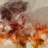 Αφηρημένη καλλιτεχνική ζωγραφική Watercolor υψηλής ανάλυσης ψηφιακή με τα ζωηρά πορτοκαλιά και καφετιά χρώματα στη σύσταση εγγράφ στοκ εικόνες