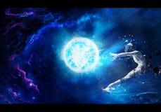 Αφηρημένη καλλιτεχνική μοναδική ψηφιακή δίνοντας απεικόνιση ζωγραφικής ενός ατόμου που πυροβολείται στο διάστημα από μια ενεργεια ελεύθερη απεικόνιση δικαιώματος