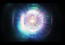 Αφηρημένη καλλιτεχνική τρισδιάστατη δίνοντας απεικόνιση μιας ζωηρόχρωμης περισυλλογής του Βούδα μέσω έξω του χωροχρόνου διανυσματική απεικόνιση