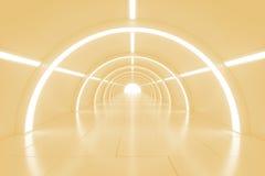 Αφηρημένη κενή λάμποντας σήραγγα με το φως στο τέλος τρισδιάστατη απεικόνιση Στοκ Εικόνες