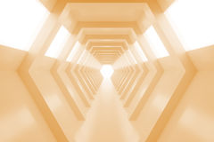 Αφηρημένη κενή θερμή πορτοκαλιά λάμποντας σήραγγα με το φως στο τέλος τρισδιάστατος δώστε Στοκ φωτογραφίες με δικαίωμα ελεύθερης χρήσης
