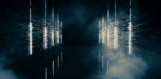 Αφηρημένη κενή, παλαιά σήραγγα, διάδρομος, αψίδα, σκοτεινό δωμάτιο, φωτισμός νέου, παχύς καπνός, αιθαλομίχλη διανυσματική απεικόνιση