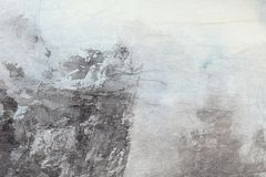 Αφηρημένη κινεζική τέχνη ζωγραφικής σε γκρίζο χαρτί Στοκ Φωτογραφία