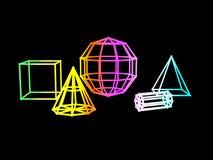 Αφηρημένη κλίσης χρώματος γεωμετρική τρισδιάστατη απόδοση υποβάθρου μορφής μαύρη διανυσματική απεικόνιση