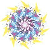 αφηρημένη κρητιδογραφία λουλουδιών γύρω από τη διακόσμηση mandala απεικόνιση αποθεμάτων