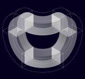 Αφηρημένη κυρτή διανυσματική μορφή στο Μαύρο Isometric εμπορικό σήμα του επιστημονικού οργάνου, ερευνητικό κέντρο, βιολογικά εργα ελεύθερη απεικόνιση δικαιώματος