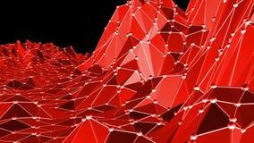 Αφηρημένη κόκκινη χαμηλή πολυ επιφάνεια κυματισμού ως ψηφιακό περιβάλλον στο μοντέρνο χαμηλό πολυ σχέδιο Polygonal υπόβαθρο μωσαϊ απεικόνιση αποθεμάτων