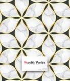 Αφηρημένη λουλούδι ή χλωρίδα με τις χρυσές άκρες και τις μαρμάρινες συστάσεις στο λουλούδι Καθαρό σχέδιο για την ταπετσαρία υφάσμ Στοκ Εικόνες