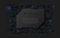 Αφηρημένη μαύρη φουτουριστική μαλακή ευπρόσδεκτη οθόνη Πιάτο τεχνολογίας μετάλλων στο χαοτικό υπόβαθρο σχεδίου Στοκ Φωτογραφία