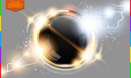 Αφηρημένη μετάλλων χρυσή δαχτυλιδιών δύναμης διαφάνεια υποβάθρου επιστήμης διαφανής με το πρόσθετο σχήμα μόνο Στοκ Εικόνα