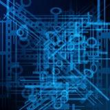Αφηρημένη μελλοντική τεχνολογία, ηλεκτρικό υπόβαθρο τηλεπικοινωνιών Στοκ Εικόνα