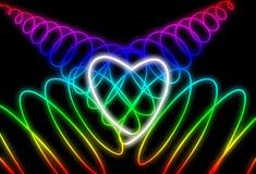 Αφηρημένη μορφή καρδιών νέου στο σκοτεινό υπόβαθρο Σχέδιο για την ημέρα του ευτυχούς βαλεντίνου στοκ εικόνα με δικαίωμα ελεύθερης χρήσης