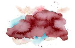 Αφηρημένη μορφή Watercolor, συρμένη χέρι watercolour burgundy σύσταση στοκ εικόνα με δικαίωμα ελεύθερης χρήσης