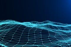 Αφηρημένη μπλε δυναμική ψηφιακή επιφάνεια πλεγμάτων τεχνολογίας στο μπλε ελεύθερη απεικόνιση δικαιώματος