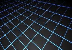 Αφηρημένη μπλε ελαφριά προοπτική πλέγματος γραμμών στο μαύρο διάνυσμα υποβάθρου τεχνολογίας Στοκ Εικόνα